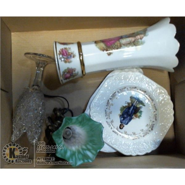 BOX LOT OF VASES WITH VASE LAMP