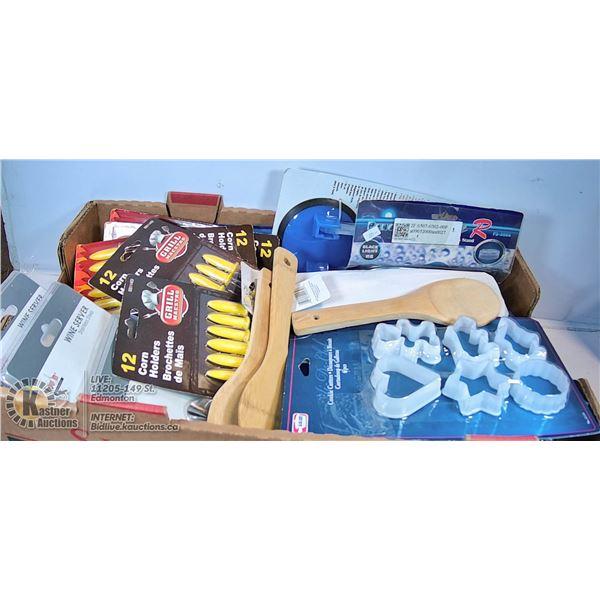 BOX OF NEW KITCHEN ITEMS