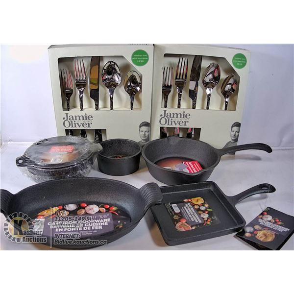 NEW 5 PC CAST IRON PANS