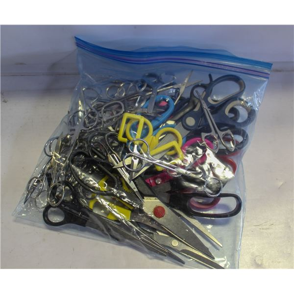 BAG OF LARGE AND SMALL SCISSORS