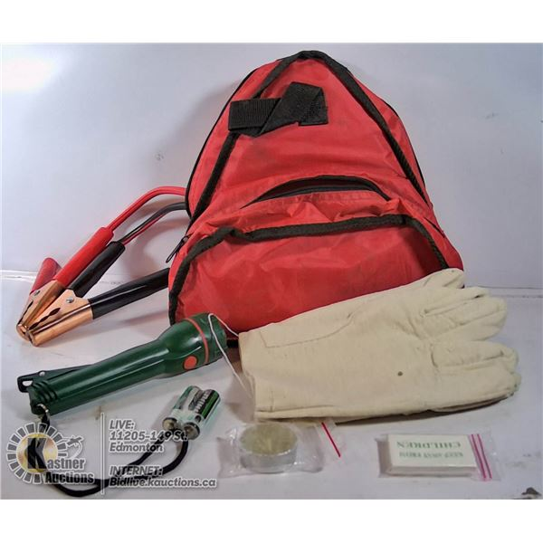 BAGGED CAR BAG - INCLUDES BOOSTER CABLES,