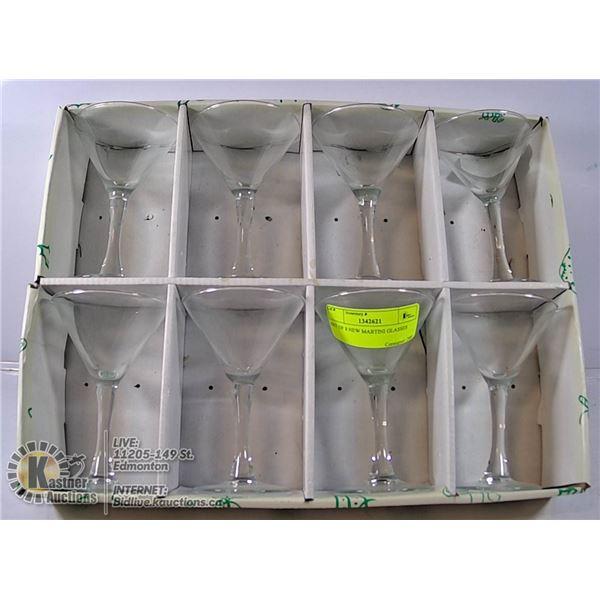 SET OF 8 NEW MARTINI GLASSES