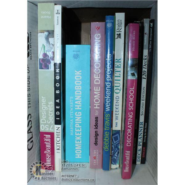 BOX OF HOME DESIGN BOOKS, INCLUDES MARTHA