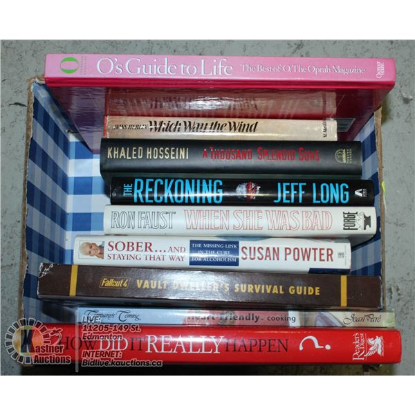 LOT OF HARDCOVER NOVELS AND INFO BOOKS INCL OPRAH