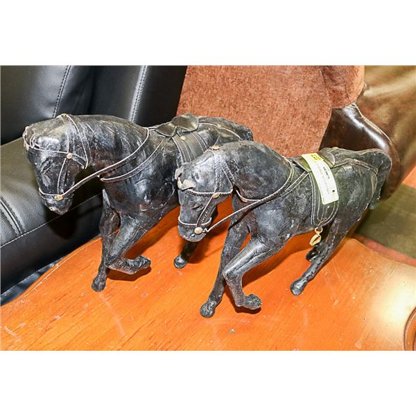 2 LEATHER HORSE SCULPTURES