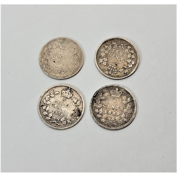 34)  LOT OF 4 CANADIAN NICKLES, 1889, 1893, 1896 &