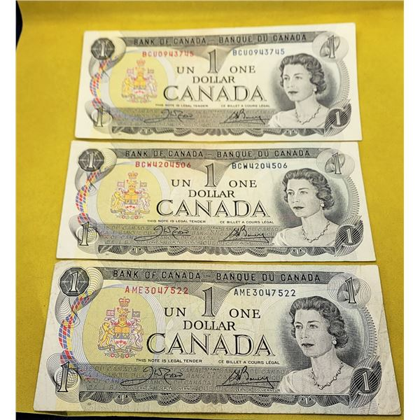27)  LOT OF 3 CANADIAN 1973 $1.00 BANK