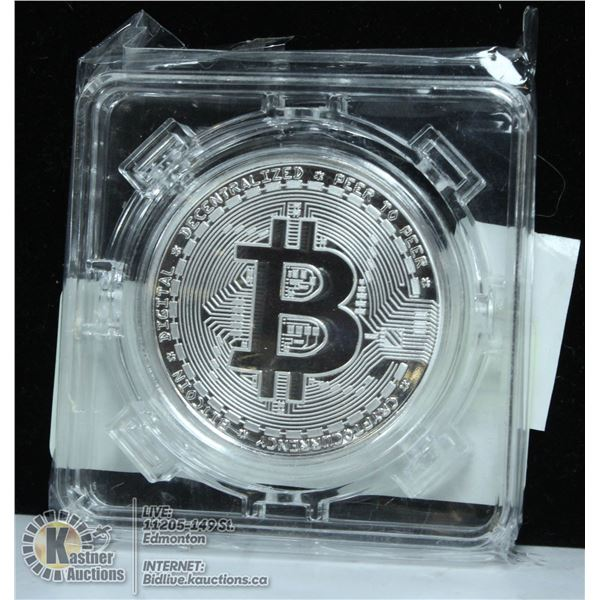 SILVER PLATED BITCOIN IN ROTATING CASE