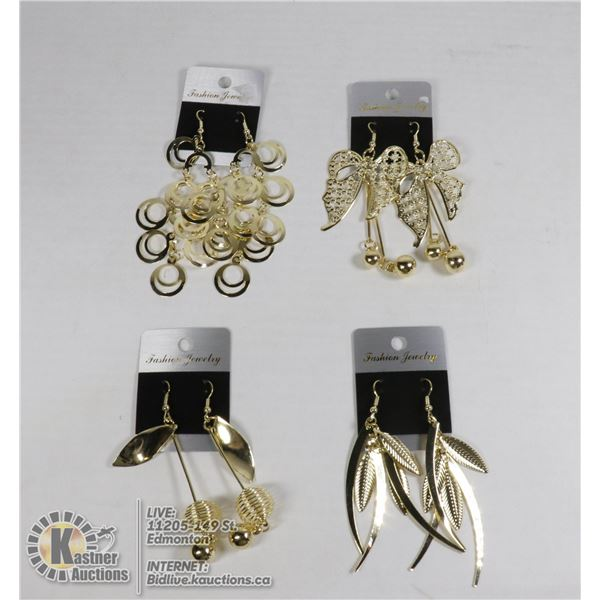 4 PAIRS OF NEW GOLD TONE EARRINGS