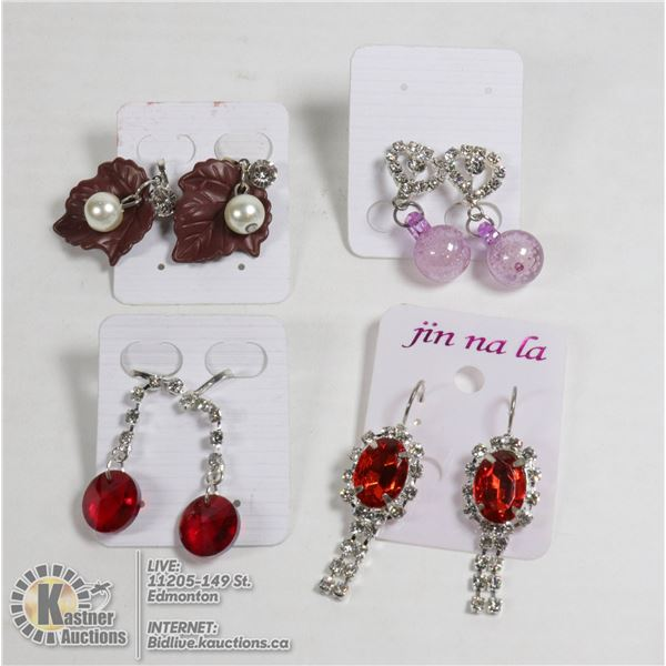 SET OF 4 NEW CLIP ON CRYSTAL EARRINGS