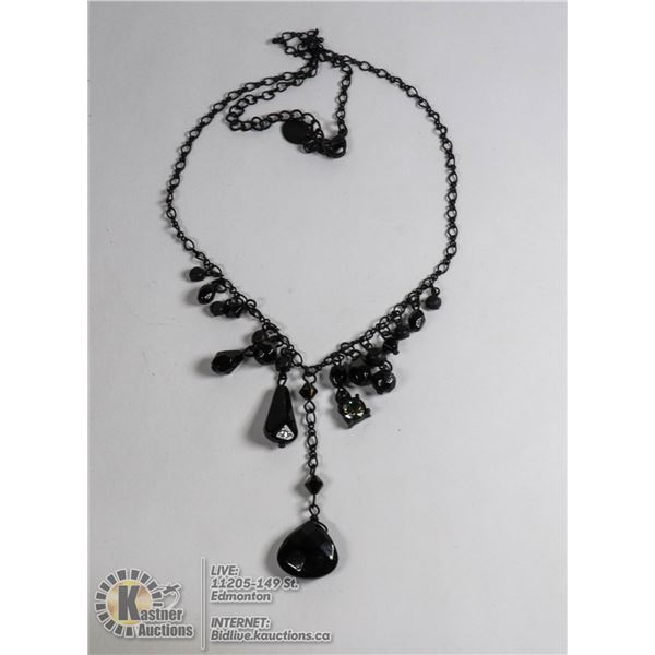COSTUME JEWELRY BLACK CHAIN LINK NECKLACE