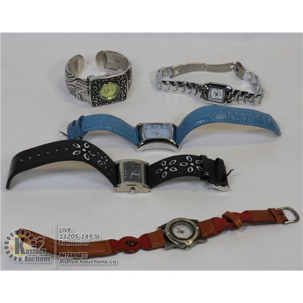 LOT OF 5 ASSORTED FASHION WATCHES NEED BATTERIES