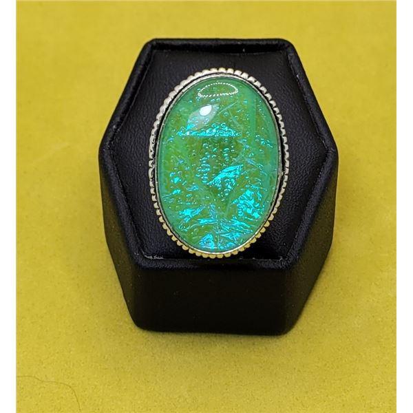 15)  OVAL PALE GREEN/BLUE AUSTRALIAN