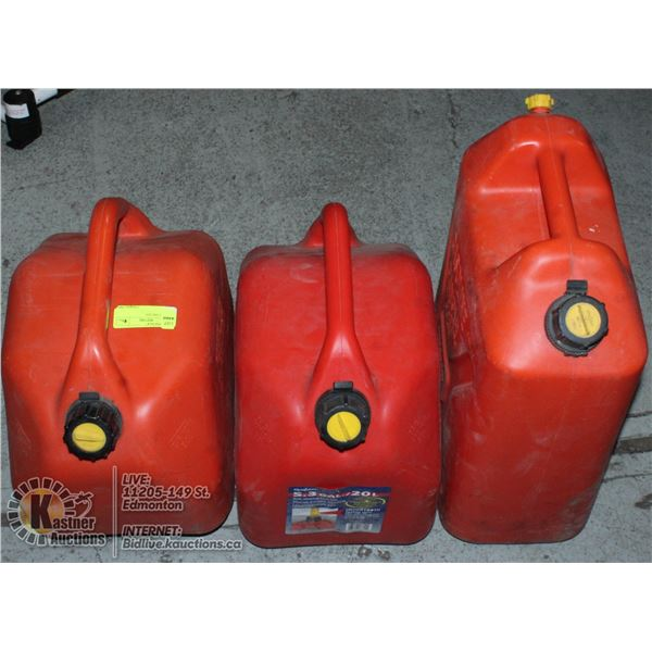 LOT OF THREE 20L JERRY CANS.