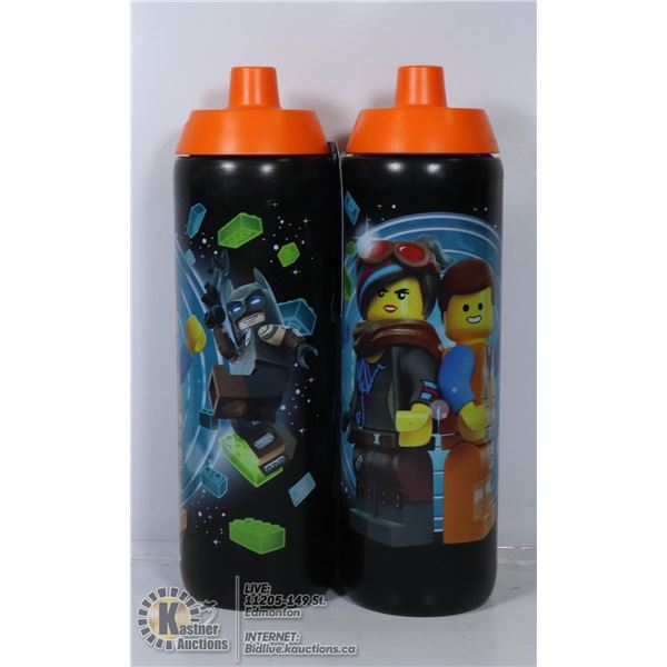 TWO NEW LEGO MOVIE 2 WATER BOTTLES