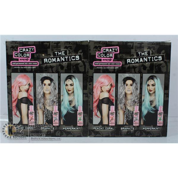 "2 BOXES CRAZY COLOR ""THE ROMANTICS"" SEMI PERMANENT"