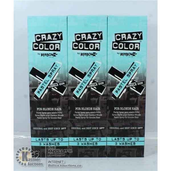 3 BOXES OF CRAZY COLOUR BUBBLEGUM PASTEL SPRAY FOR