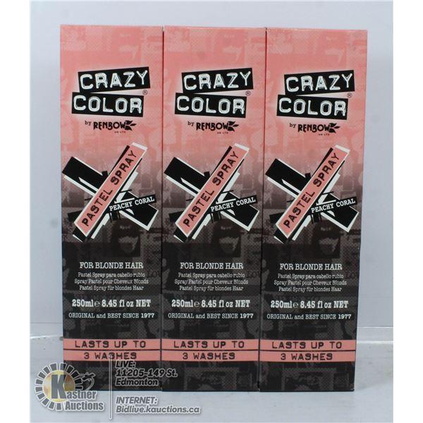 3 BOXES OF CRAZY COLOUR PEACHY CORAL PASTEL SPRAY