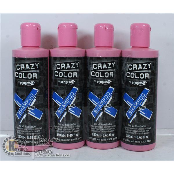 4 BOTTLES OF CRAZY COLOR BLUE SHAMPOO FOR ALL BLUE