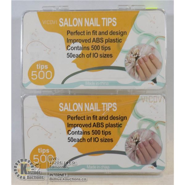 LOT OF TWO 500PC SALON NAIL TIPS
