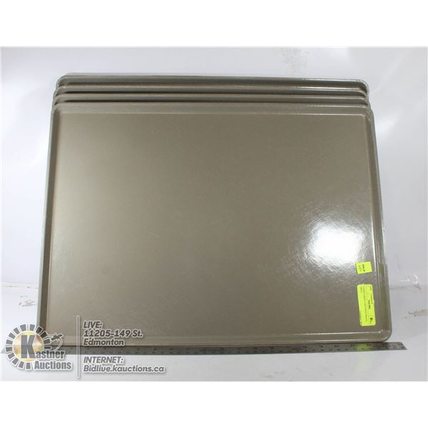 4 NEW LARGE CAFETERIA TRAYS - GRAY