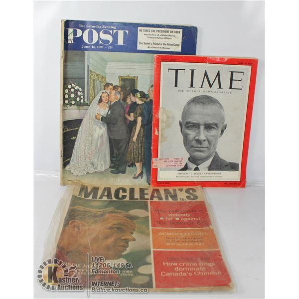 THREE 1950 - 60'S MAGAZINES INCL GORDIE HOWE