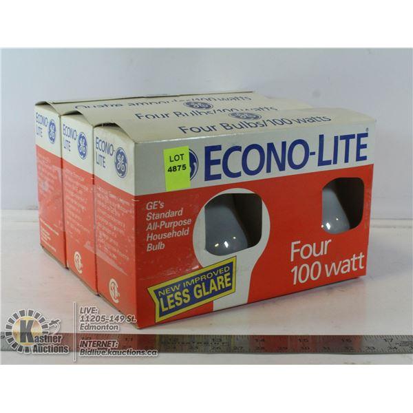 LOT OF 4 ECONO-LITE 100W LIGHT BULBS FOUR PER PACK