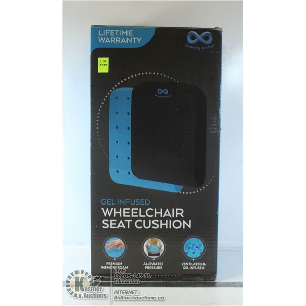 GEL INFUSED WHEELCHAIR SEAT CUSHION. COMES WITH A