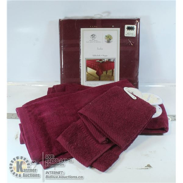 TABLECLOTH WITH 4 TOWELS AND TERY HAND TOWEL