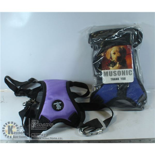 LOT OF 2 DOG HARNESSES SIZE LARGE