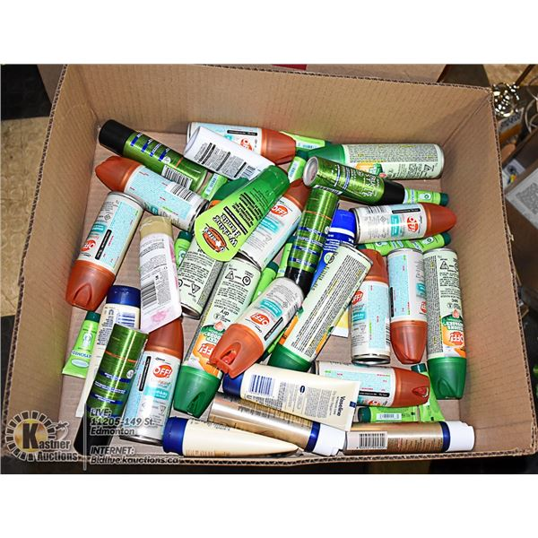 FLAT LOT OF SKIN CARE AND VARIOUS TRAVEL BOTTLES
