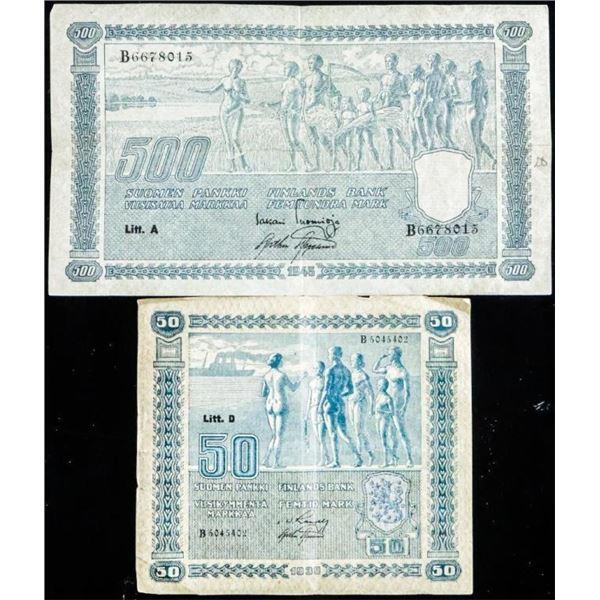Lot 2 FINLAND Note - 1939 50 Marakkaa & 1945  500 Marakkaa