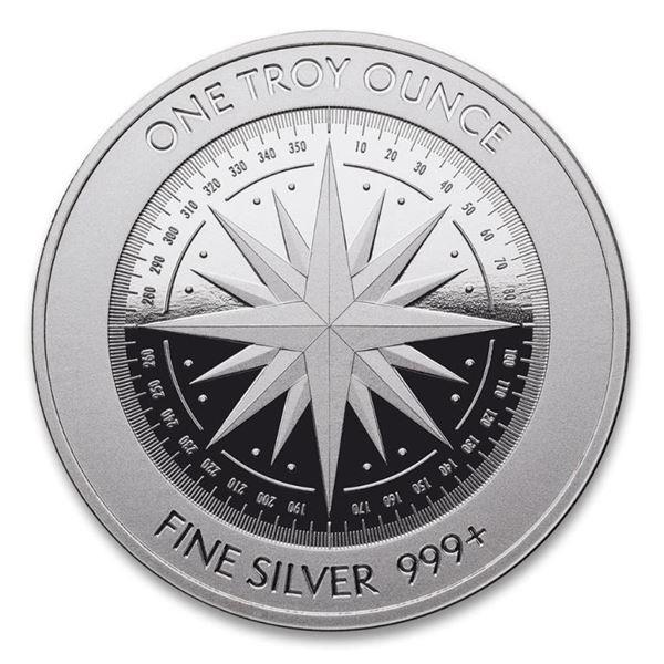 .999 Fine Silver 1oz Compass Round.  Investment Bullion.