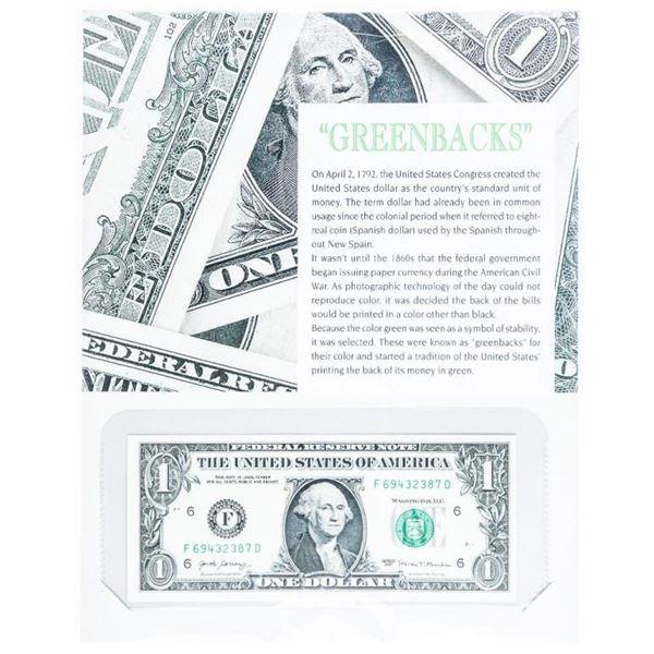 Greenbacks- USA Federal Reserve $1 Note w/ 8  x 10 Giclee Art Card