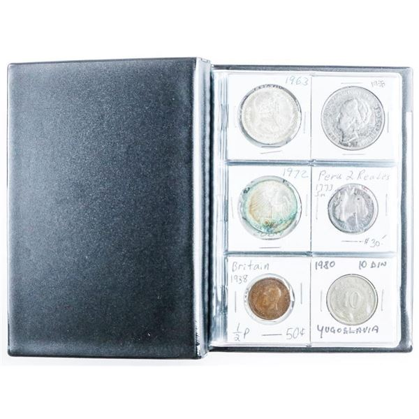Coin Stock Book w/ 24 World Coins w/Silver