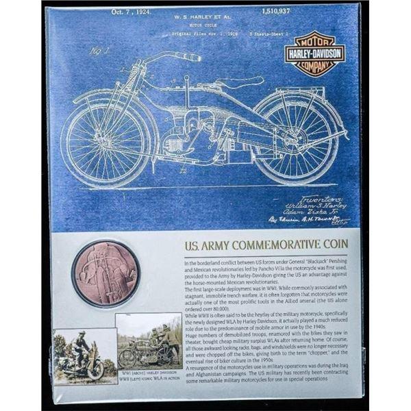 "US Army Commemorative Coin - Harley Davidson  w/ 8x10"" Giclee Art Card"