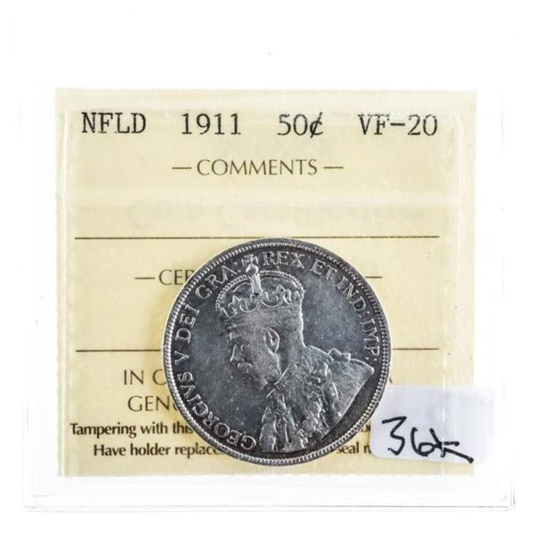 1911 Nfld Silver 50 cents