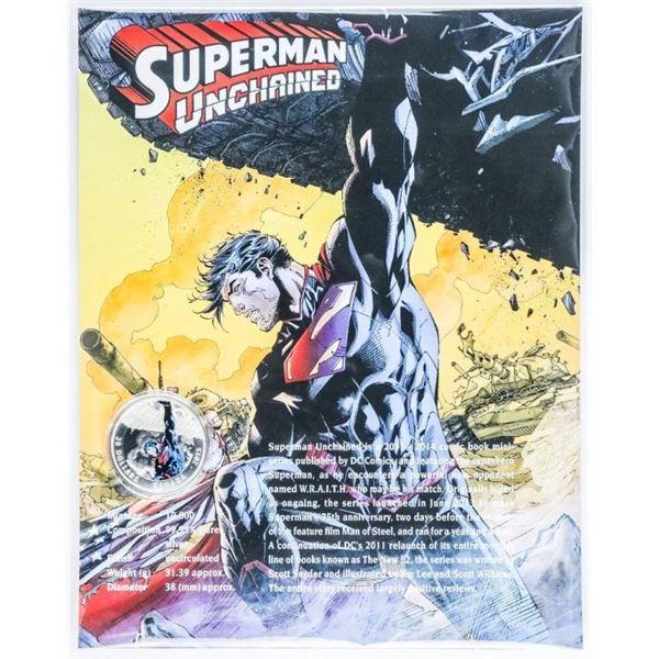 RCM Superman Unchained 2015 $20 Coin w/COA on  8 x 10 Giclee Art Card