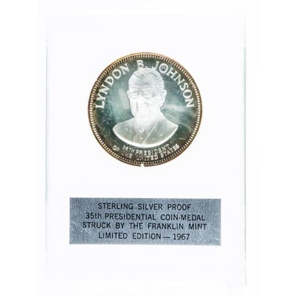 925 Sterling Silver Proof Presidential  Coin-Medal -Linden B. Johnson