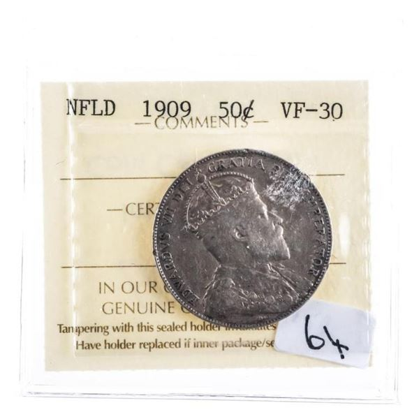 1909 NFLD Silver 50 cents VF 30