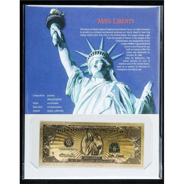 Miss Liberty USA Million Dollar Note, with  Art Card