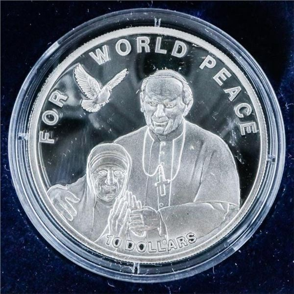 For World Peace - 925 Sterling Silver $10.00  Coin. LE Proof with C.O.A.
