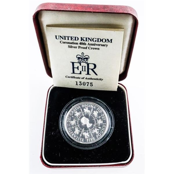 UK Sterling Silver 5 Pound Coin