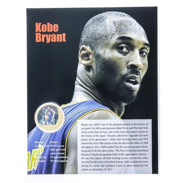 Kobe Bryant Collector Gold Medallion w/ 8 x  10 Art card