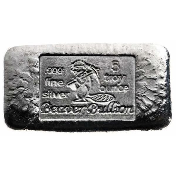 Canada's Beaver - .999 Fine Silver 5oz Hand  Poured Bar. Very Collectible. (Available for  Pick Up o