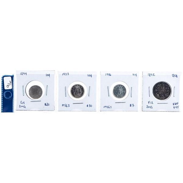 Group of 4 Canada Silver 10 Cents & 25 Cents