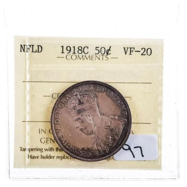 1918C NFLD Silver 50 Cents VF 20 ICCS