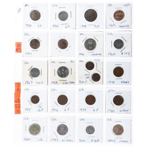 Group of 21 Coins of UK 1943-2005 (255)