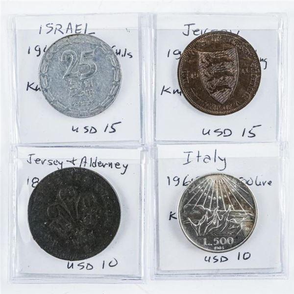Estate Group (4) world Coins: Italy, Jersey,  Alderney, Israel