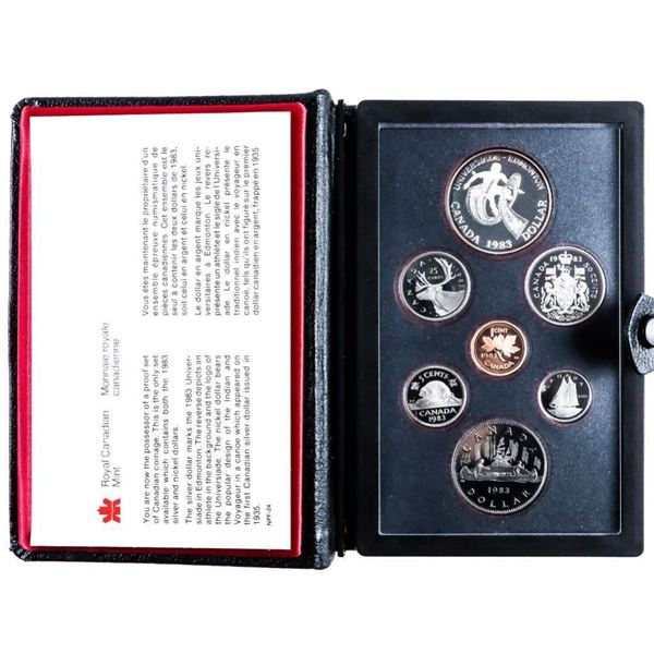RCM 1983 Proof Set w/ Silver Dollar Black  Leather case